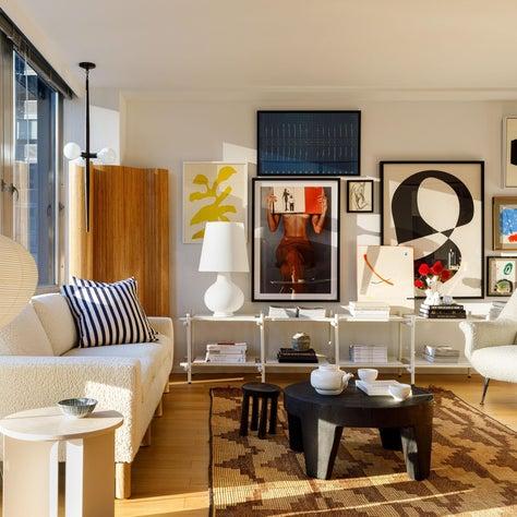 Mies : Gallery Wall, Art, Tribal Rug, Mid Century Sofa, Mid Century Chair, Noguchi Lamp,