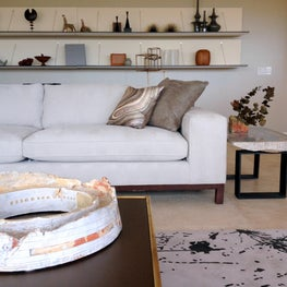 Chic in Scottsdale / A collection of interesting mid century objects adorn the minimalist shelves of this room complete with an ink blotch rug a la Jackson Pollock.