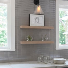 Modern kitchen tile with custom floating shelves