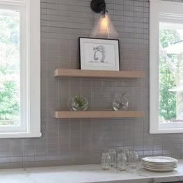 Modern kitchen tile with custom floating shelves