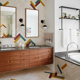 Evanston Master Bath with Colorful Tiles and Walnut Cabinet