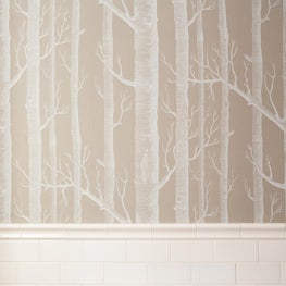 Cole & Sons woods wallpaper w/white subway tile- by Sophia Shibles