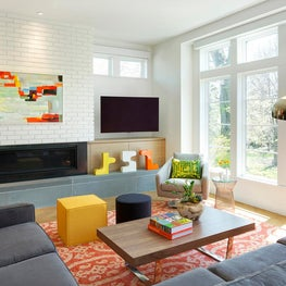 Edina infill home with walls of windows and open floor plan