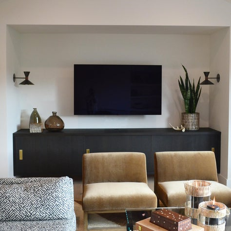 Kentfield Remodel: Media Nook, Custom Built In, Custom Upholstery, Decorative Sconces