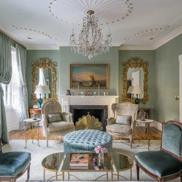 Beacon Hill Living Room with Silk Wallpaper and Louis XVI GIlt Mirrors