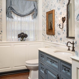 Powder Room with Blue FLoral Wallpaper and Blue Vanity