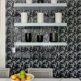 Kitchen Detail Shot with Floral Tile and Custom Shelves