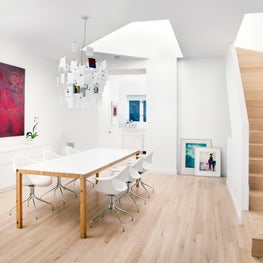 Skylight over DiningTable, Crisp White Walls, Oak Floors