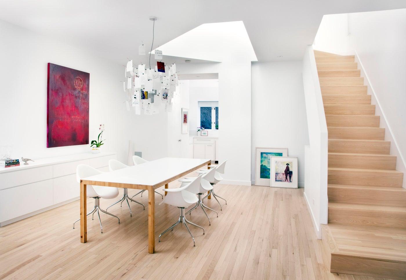 Skylight over DiningTable, Crisp White Walls, Oak Floors