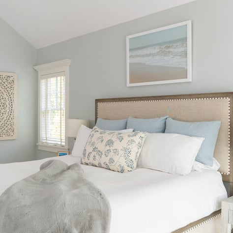 Soft and serene bedroom with layered textures