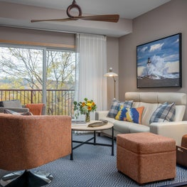 Orange and blue living room with Lake Superior inspiration