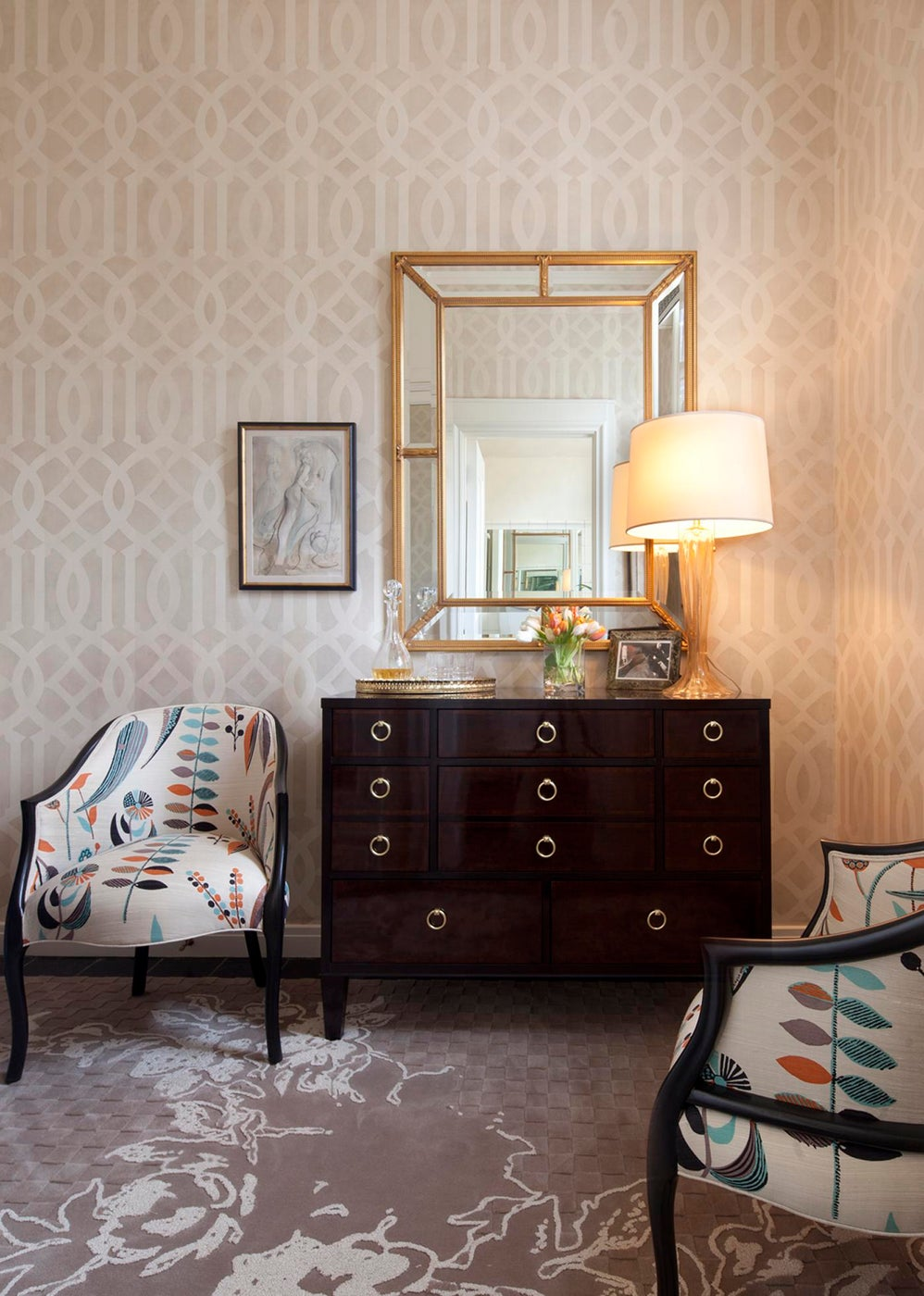 Ladies Lounge Area for Lake Forest Showhouse & Gardens