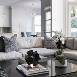 Grey, Black and White Open Concept Living Room and Kitchen
