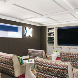 Media Room that is colorful and comfortable