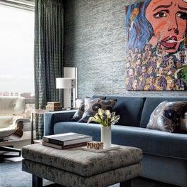 Ritz Carlton Residences, Boston; Grasscloth wallcovering, Custom lighting