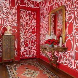 Elevator Vestibule with Modern Street Art Walls and Antiques