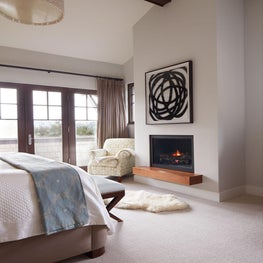 A master bedroom that is both sophisticated, and light and airy