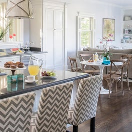 Eat In Kitchen with Chevron Stools, Saarinen Table and Cafe Chairs