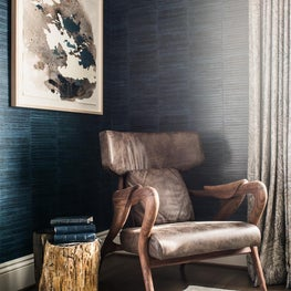 17th Street Residence, Master Bedroom with dark textured wallpaper, sitting area