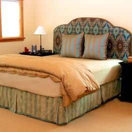 NW hills, Portland, OR: Master Bedroom, Custom bedding with mounted headboard.