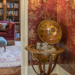 """Beacon Hill Library Vestibule with Globe """"Bar"""" and Chinoiserie Wallpaper"""