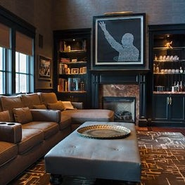 Media Room with rich chestnut and navy details