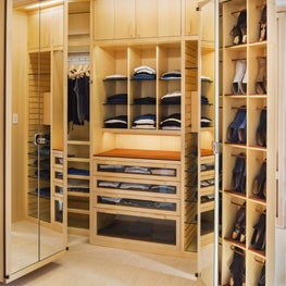 Custom built-ins designed to perfection to hold your elegant personal belongings