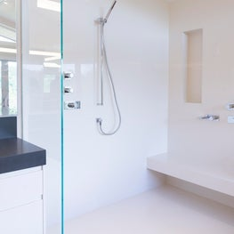 Portola Valley contemporary renovation. Master Bathroom.