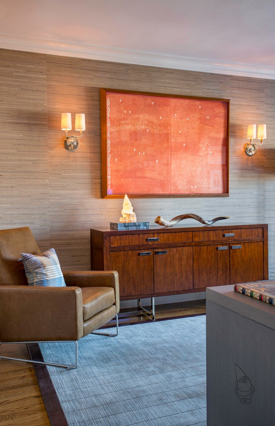 Brookline Office with Handwoven Wallcovering and Custom Built-in Desk