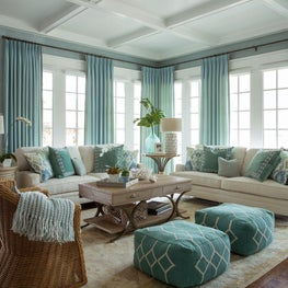 Transitional coastal blue living room with coffered ceiling