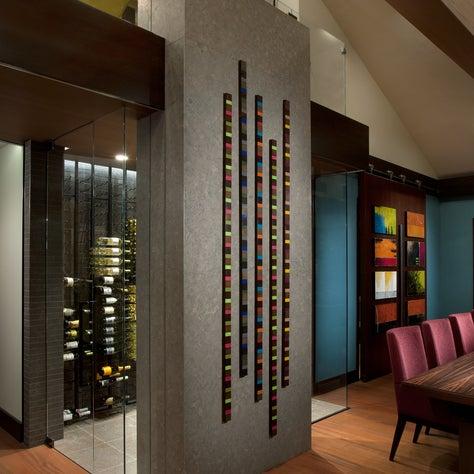 Custom wine cellar with artistic detail