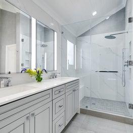 Oceanside Modern Cottage Master Bath Shower with built-in bench