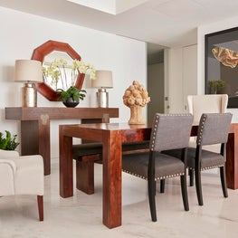 Open Concept Dining, St. Regis Residence, Singapore, Marble Floors, Wood Tones