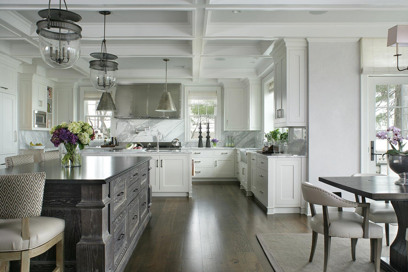 Gourmet Kitchen with double islands and custom hood