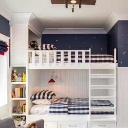 White Built-in Boy's Bunk Bed with Buffalo Check