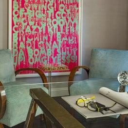 Feminine Chestnut Hill Office with Art Deco Armchairs and Mel Bochner Art
