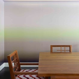 Ombre Wallpaper by Brett Design, Inc. clads a contemporary Dining Room in NYC.