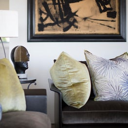 Family Home with a View- Vignette of Glamorous Throw Pillows
