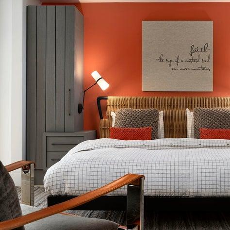 Guest bedroom with custom built-in