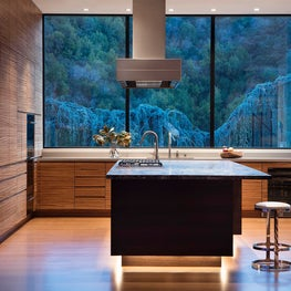 Modern kitchen with valley views