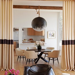 Dining Room with Custom-Hand Painted Noguchi Pendant Light - Sunset Roundabout