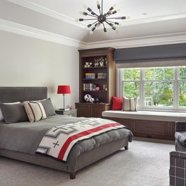 Boys bedroom with custom builtins and gray and red accents