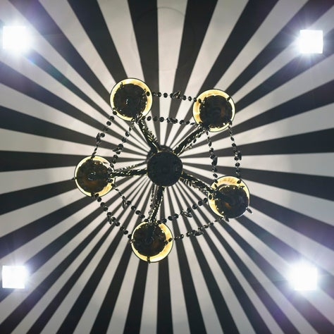 Handpainted Circus Tent Stripes On Dressing Room Ceiling