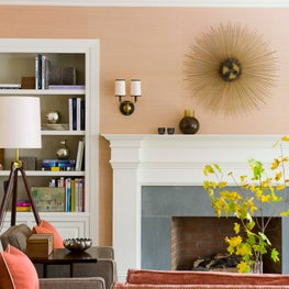 Coral and Taupe Great Room with Fireplace and Built-in Bookshelves
