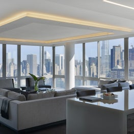Panoramic Manhattan Views Frame This Living Room