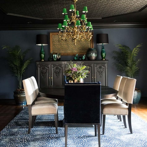 Moody Dining Room with vintage touches and pops of color