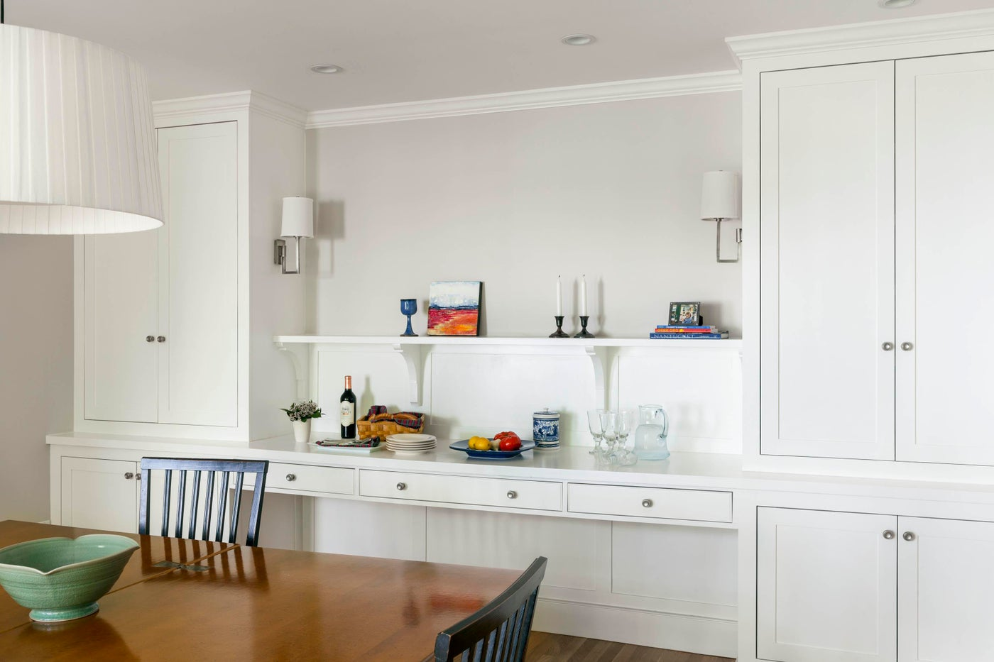 Custom built-in cabinetry wall with spacious buffet, perfect for entertaining