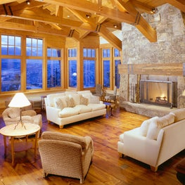 Aspen, CO - Family Room, western reclaimed spruce and hemlock flooring and artisan furnishings