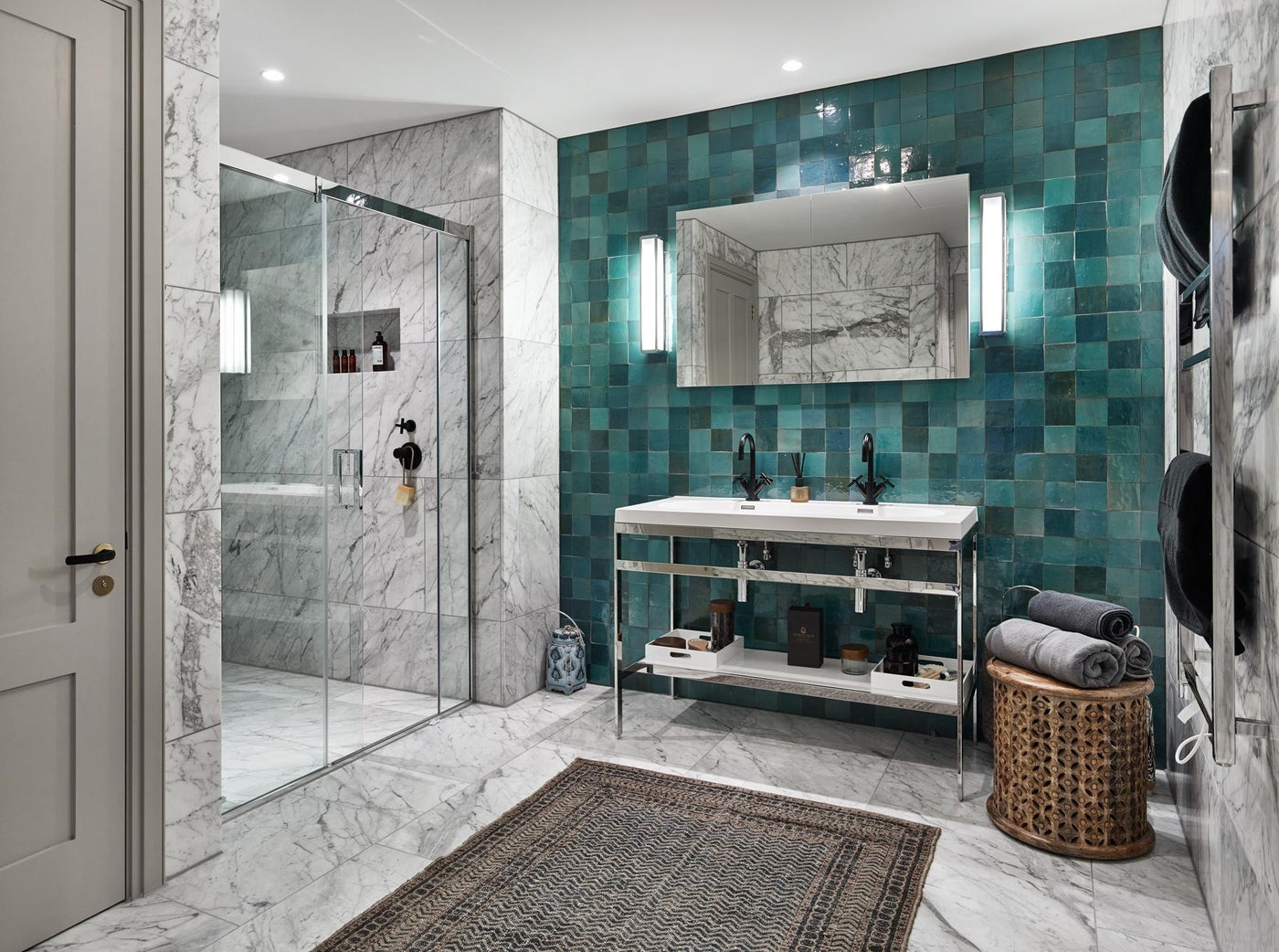 A Global Traveller's Modern Moroccan Master Bath