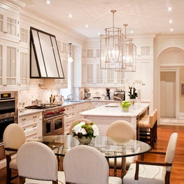 White Kitchen with Large Pendant Lights